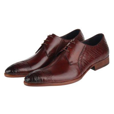 Chaussures Derby en Cuir Effet Texturé Avant et Arrière