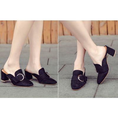Chaussures slip on à enfiler pour femme avec boucle large