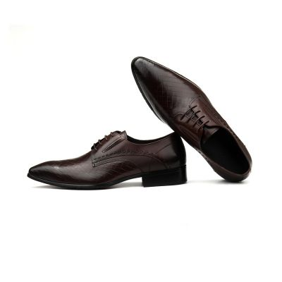 Chaussures derby en cuir pour homme avec motif à carré tissé