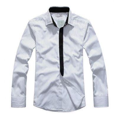 Chemise à Rayures Fines pour Homme avec Bordure Noire Coton