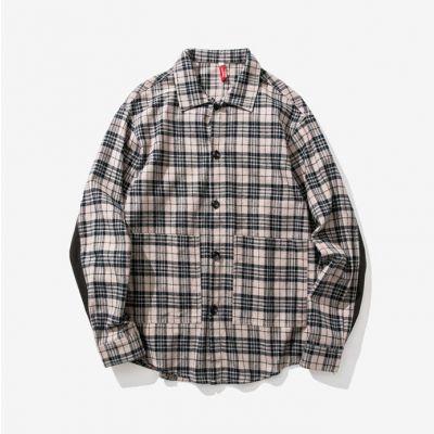 Chemise à carreaux écossais gris à manches longues pour homme
