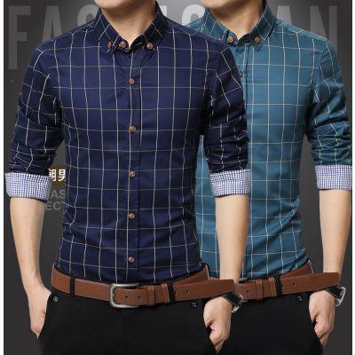 Chemise à carreaux pour homme avec bordure intérieure classique