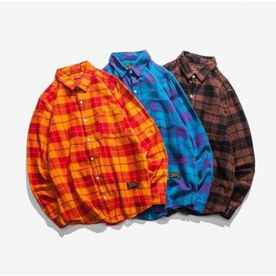 Chemise à carreaux retro japonais pour homme avec motif écossais