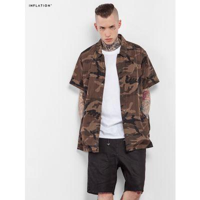 Chemise à manches courtes camouflage militaire marron pour homme
