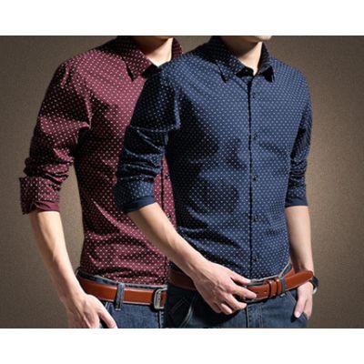 Chemise à pois pour homme 100% Coton avec motif vintage