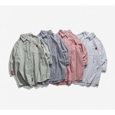 Chemise à rayures oversize à manches longues pour homme