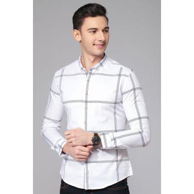 Chemise à grand carreaux pour homme 100% coton cintrée
