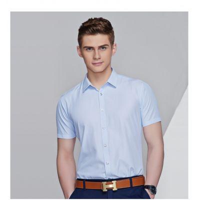 Chemise à manches courtes micro rayures pour homme 100% coton