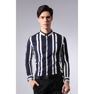 Chemise à rayures larges fantaisie pour homme 100% coton cintrée