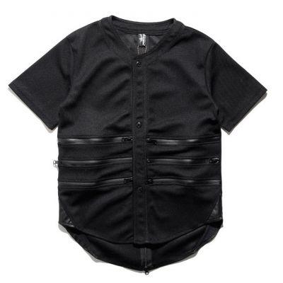 Chemise Baseball pour Homme avec empiècements cuir et zips