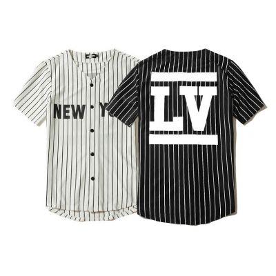 Chemise baseball sans col pour homme avec imprimé New York LV