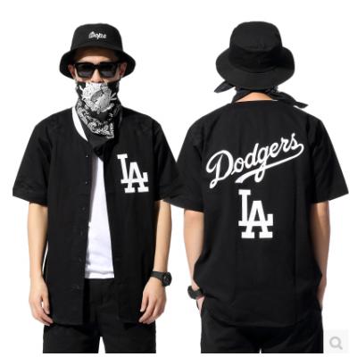 Chemise Baseball Sans Col pour Homme Los Angeles Dodgers