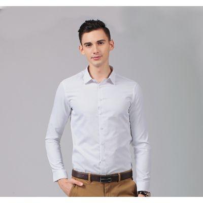 Chemise cintrée classique pour homme 100% coton manches longues