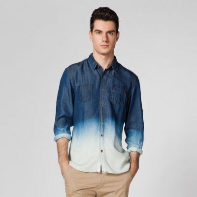 Chemise Denim Dip Dye pour Homme Jeans Manches Longues