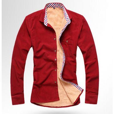 Chemise doublée fourrure intérieure hiver pour homme bordure carreaux