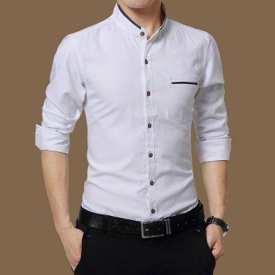 Chemise en coton à manches longues pour homme repassage facile