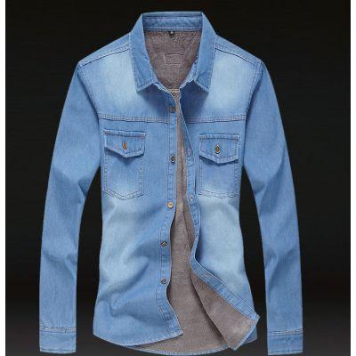 Chemise en jeans avec doublure fourrure intérieure pour homme