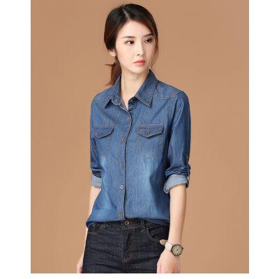 Chemise en jeans délavée classique pour femme
