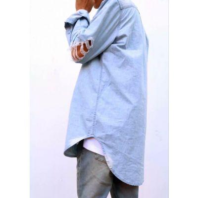 Chemise en Jeans pour Homme Coudes Troués Destroyed Denim