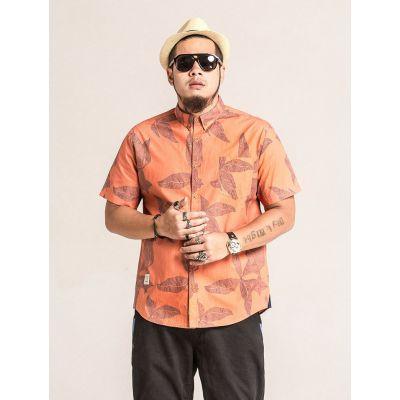 Chemise en lin manches courtes homme grande taille avec motif à fleurs oranges