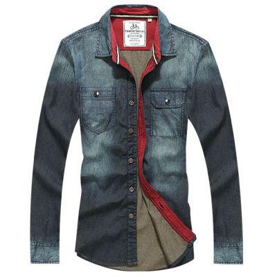 Chemise en Jeans Denim Homme Intérieur Lignée Rouge