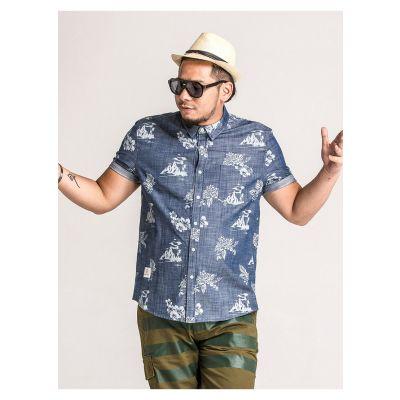 Chemise lin homme grande taille avec motif fleurs manches courtes
