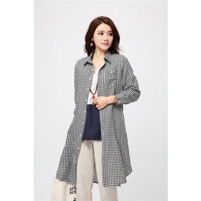 Chemise Longue Effet Robe pour Femme avec Fermeture à Bouton