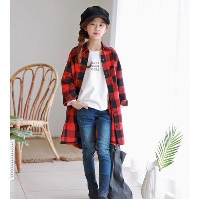 Chemise longue oversize à carreaux pour fille enfant