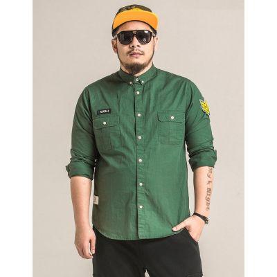Chemise militaire Panmax pour homme grandes tailles avec patch manches jaune
