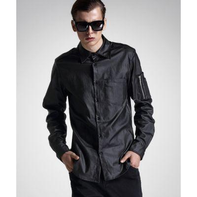 Chemise Noire Brillant Homme avec Fermeture Zip Bras et Poche