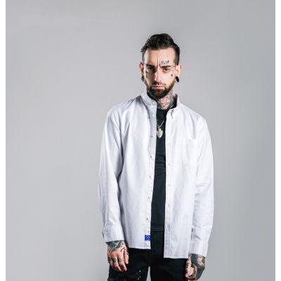 Chemise oxforde pour homme manches longues avec coins à pois