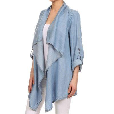 Chemise poncho en jeans denim pour femme manches longues
