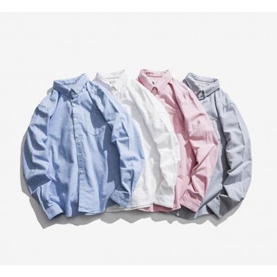 Chemise simple en coton à manches longues coupe casual pour homme