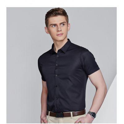 Chemise unie à manches courtes pour homme ajustée 100% coton