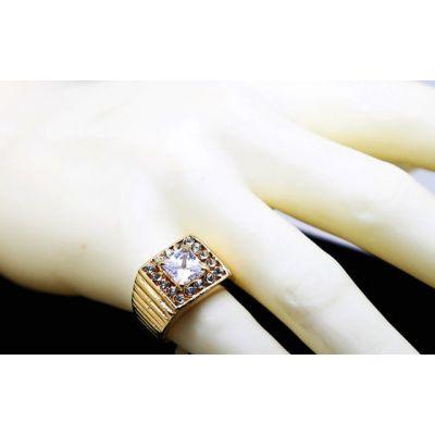 Chevalière Diamant pour Homme Carrée Bague Bling Bling