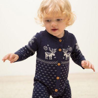 Combi Pilote Bébé avec motif Noël à Pois Cerfs Tricot Knitwear