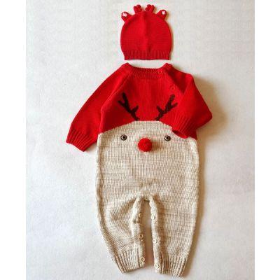 Combinaison Pilote Bébé Noël Hiver avec Motif Cerf Pompom rouge