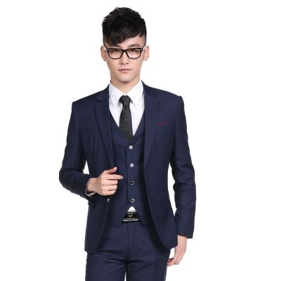 Costume 3 pièces ajusté bleu marine pour homme