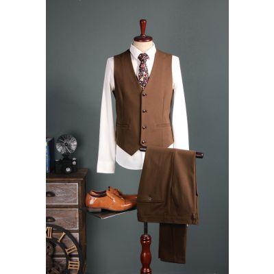 Costume 3 pièces pour homme marron vintage
