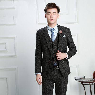 Costume 3 pièces tweed pour homme avec veste et gilet sel et poivre vintage