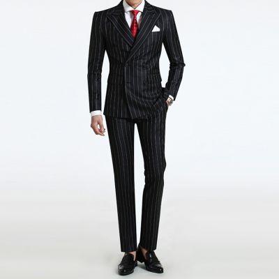 Costume à rayures sur mesure homme double boutonnage vintage