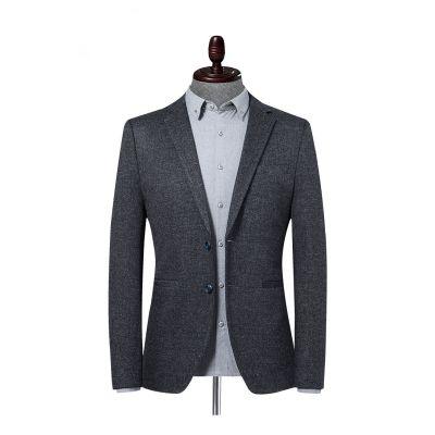 Veste de costume poivre et sel pour homme automne hiver coupe slim