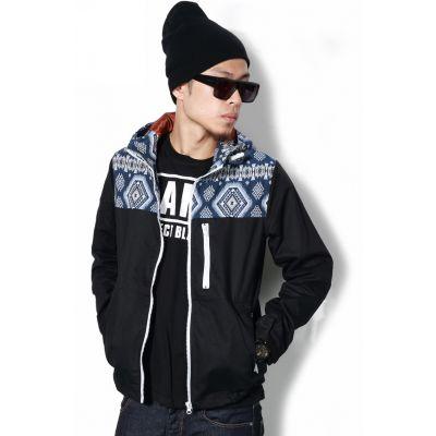 Veste Coupe Vent Streetwear avec Capuche à Motif Camo Mosaique