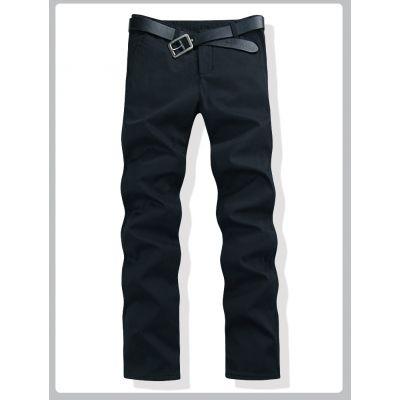 Jeans pour homme hiver coupe droite Interieur velours - Noir