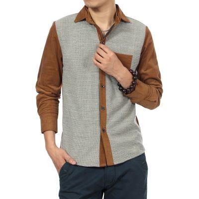 Chemise fashion homme avec manches velours côtelé bicolore
