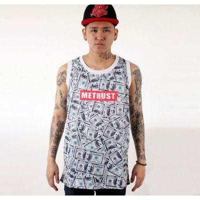 Débardeur Tank Top Money Me Trust T shirt Sans Manches Billets Dollars
