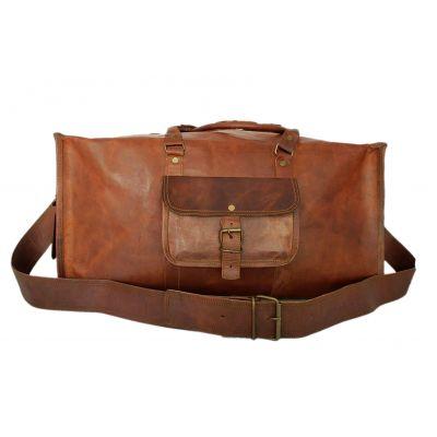 Sac duffle bag carré style sport en véritable cuir mode vintage - 22 pouces