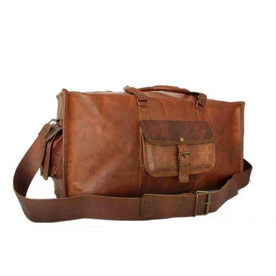 Sac de voyage duffle bag carré style sport en véritable cuir mode vintage - 24 pouces