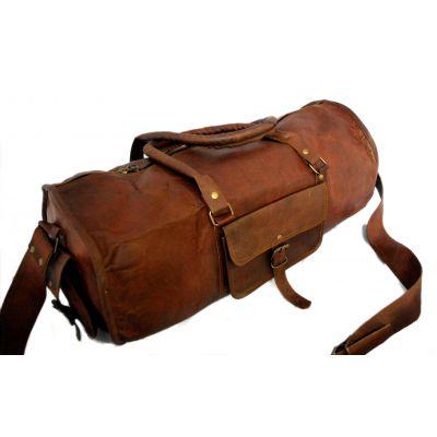 Sac de voyage duffle bag rond style sport en véritable cuir mode vintage - 18 pouces