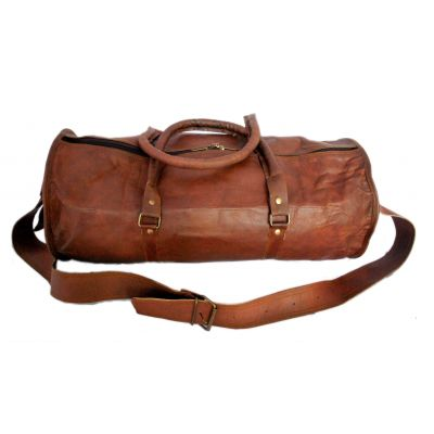Sac de voyage duffle bag rond style sport en véritable cuir mode vintage - 20 pouces